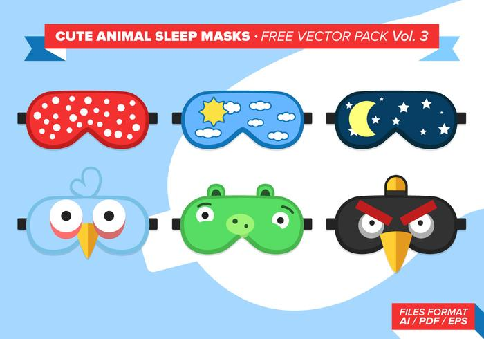 Cute Animal Sleep Masks Free Vector Pack Vol. 3