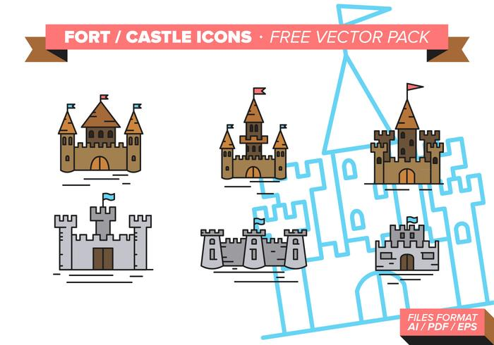 Fort Castle Icons Free Vector Pack