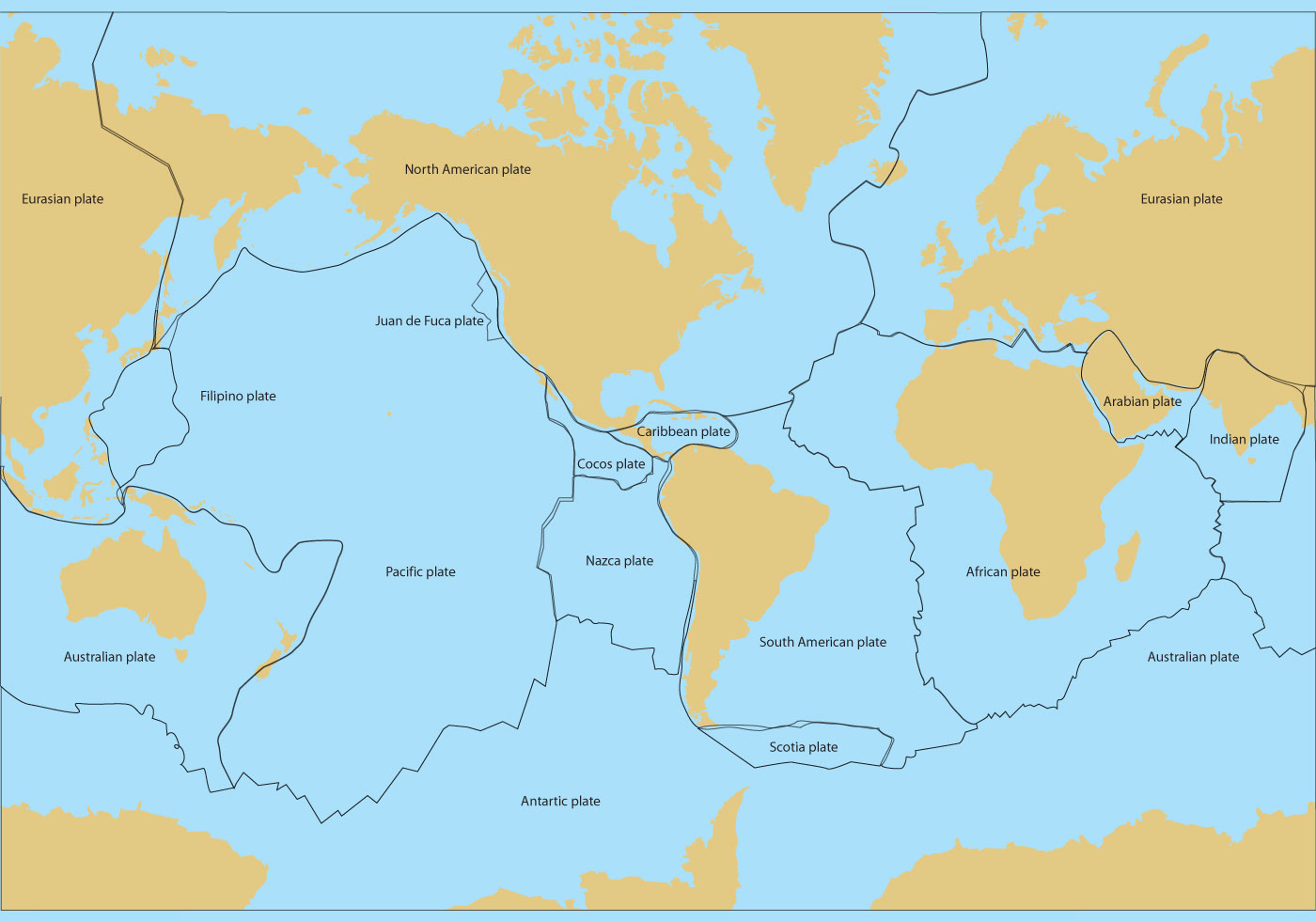 World Map With Tectonic Plates | Free Image USA Maps