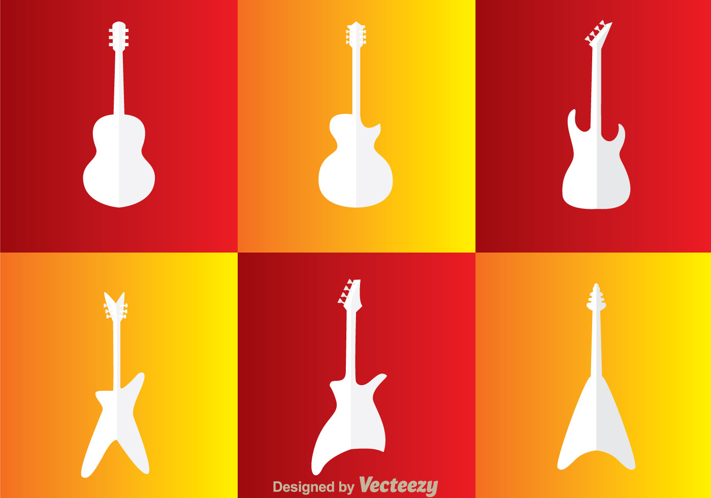 Guitar White Icons Vector
