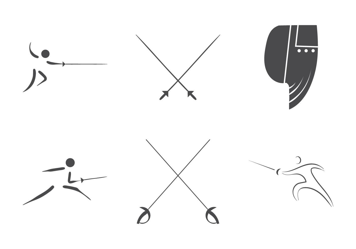 fencing vector logo set download free vector art stock