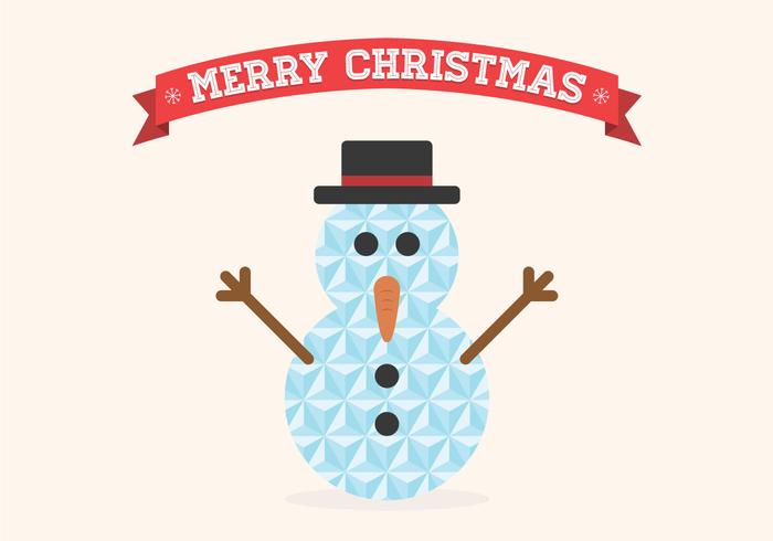 Flat Geometric Christmas Snowman Vector