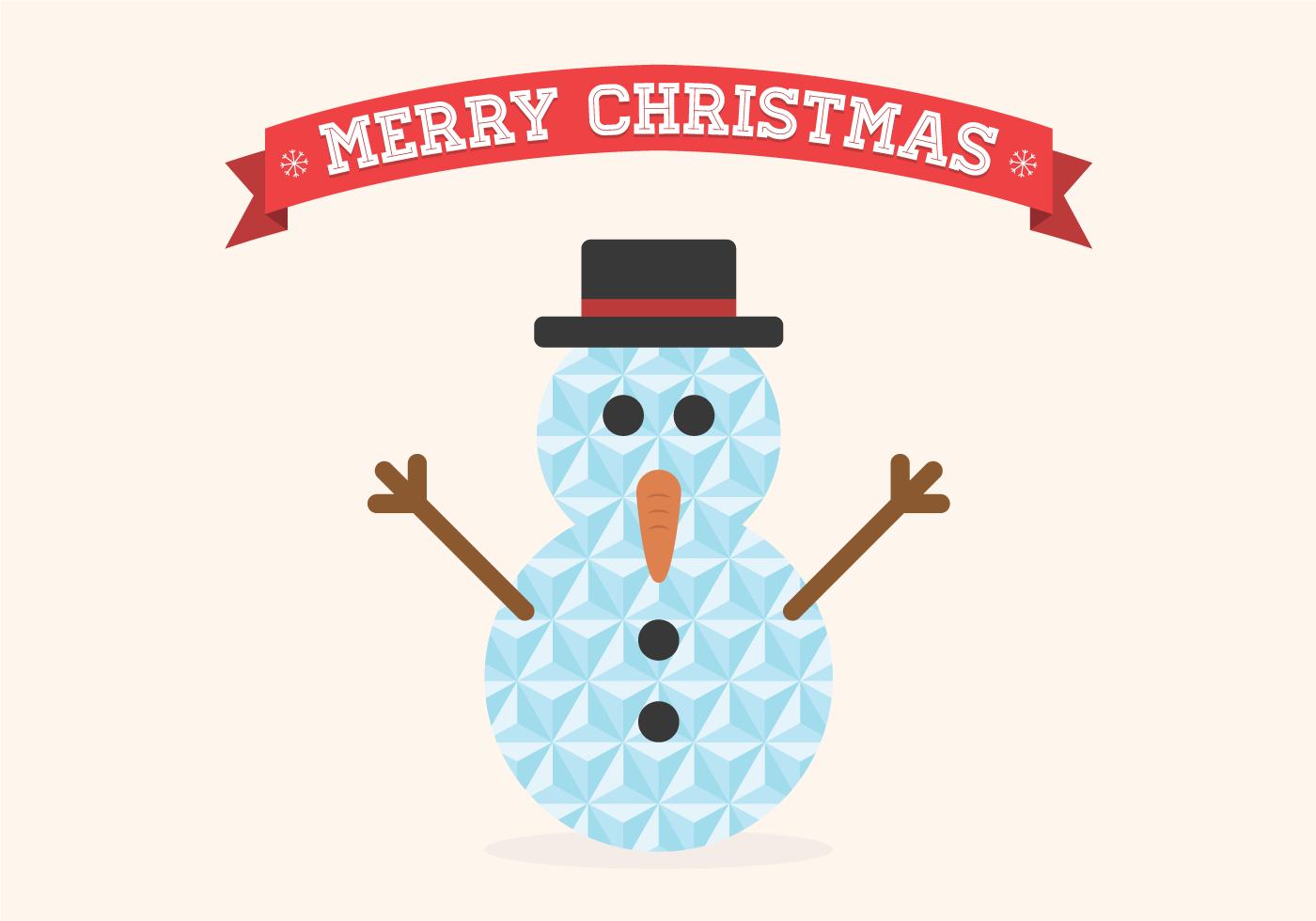 Flat Geometric Christmas Snowman Vector Download Free