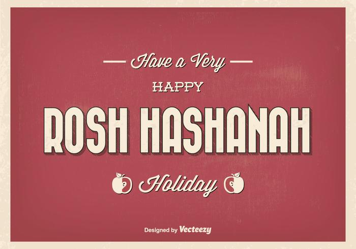 Vintage Typographic Rosh Hashanah Greeting Illustration