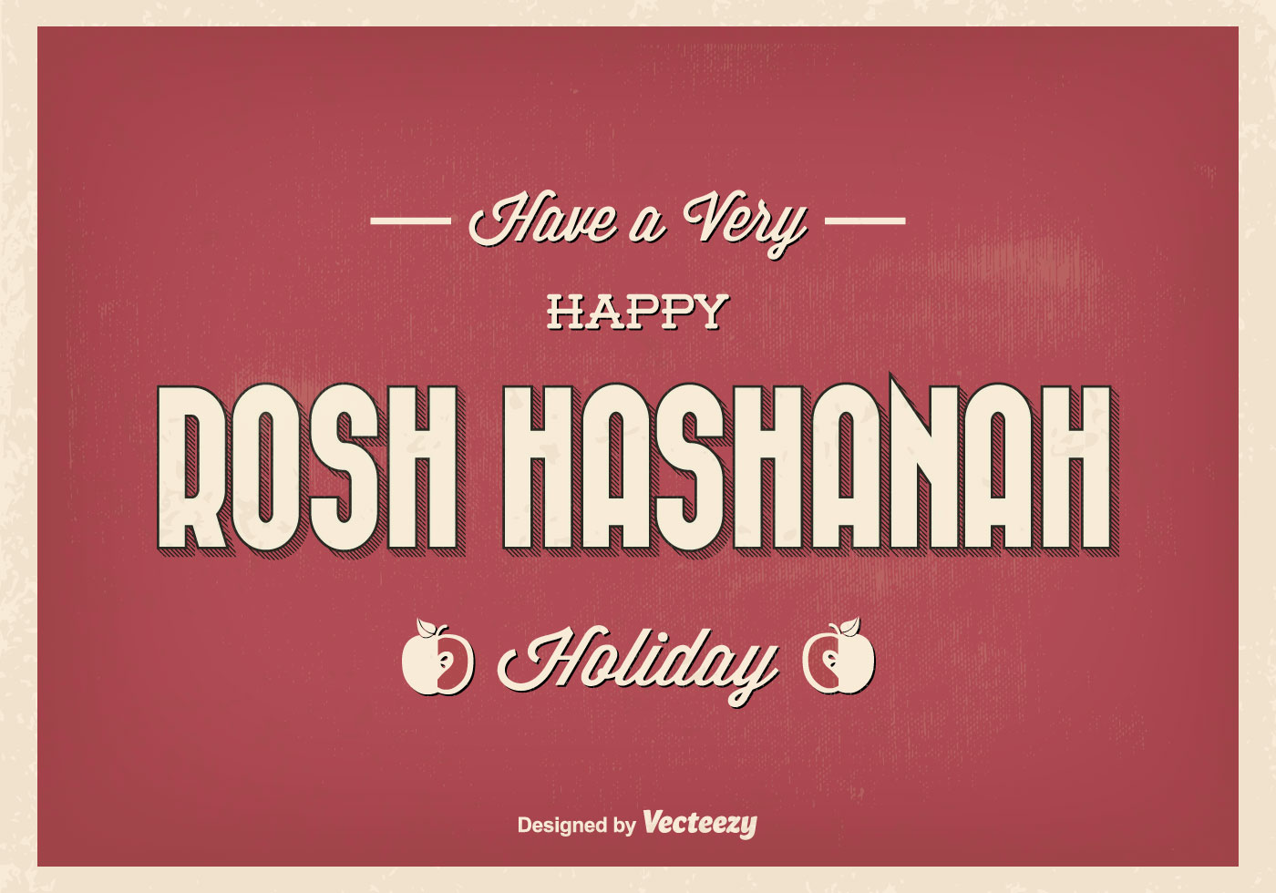 Vintage Typographic Rosh Hashanah Greeting Illustration Download