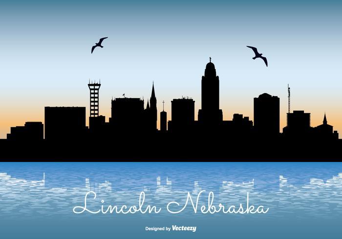 Lincoln Nebraska Skyline Illustration