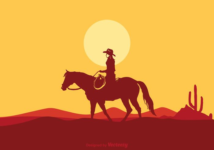 Vector Cowgirl Riding Horse