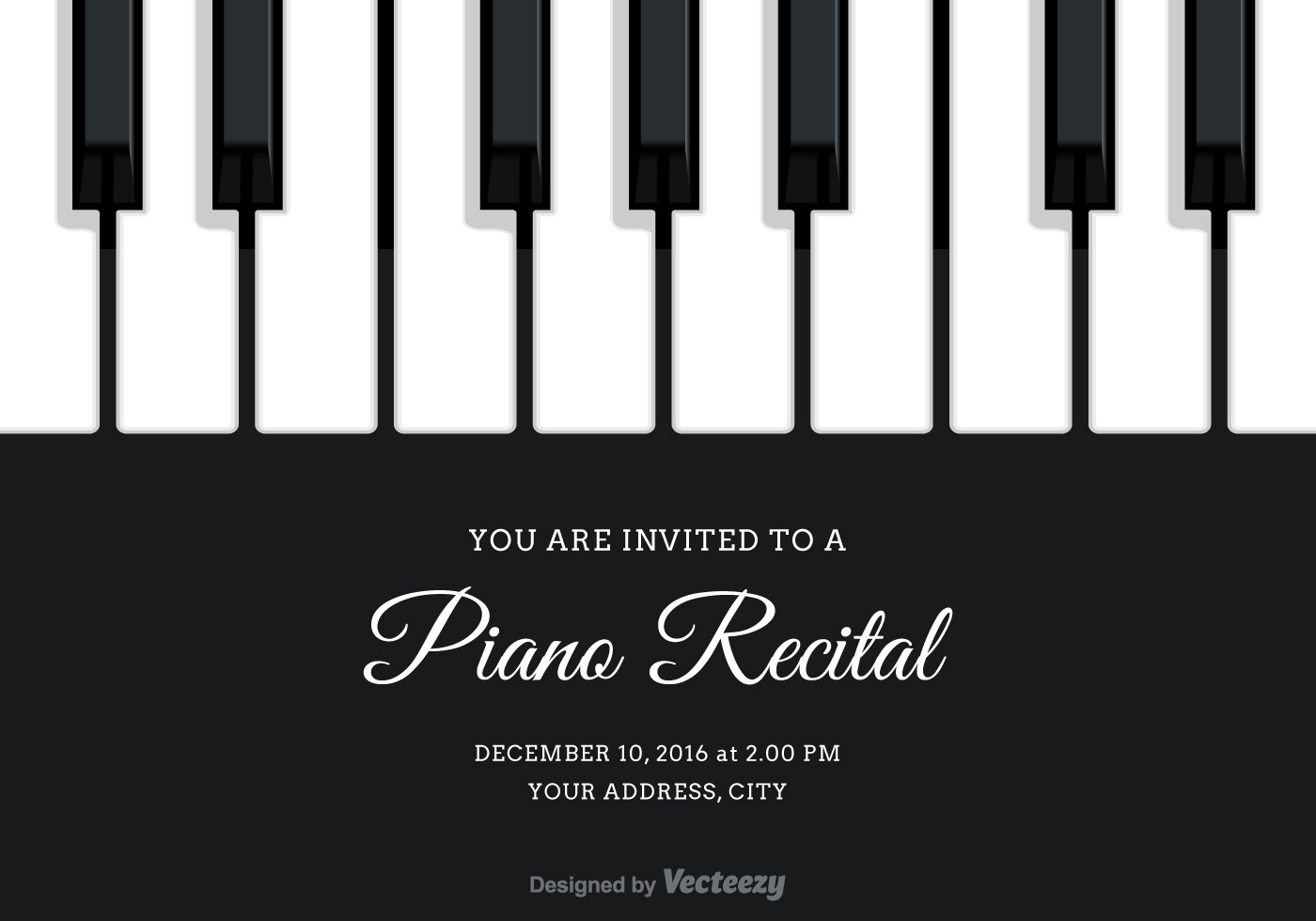 free vector piano recital invitation download free vector art stock graphics images. Black Bedroom Furniture Sets. Home Design Ideas
