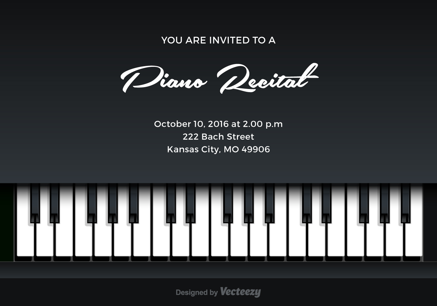 piano recital vector invitation download free vector art stock graphics images. Black Bedroom Furniture Sets. Home Design Ideas