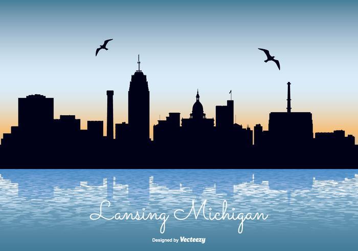 Lansing Michigan Skyline Illustration