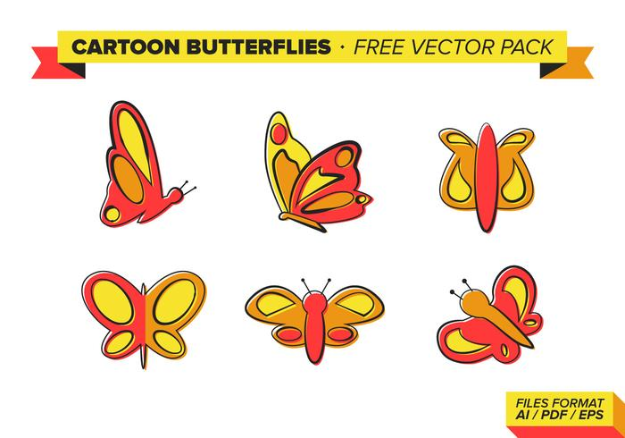 Cartoon Butterflies Free Vector Pack