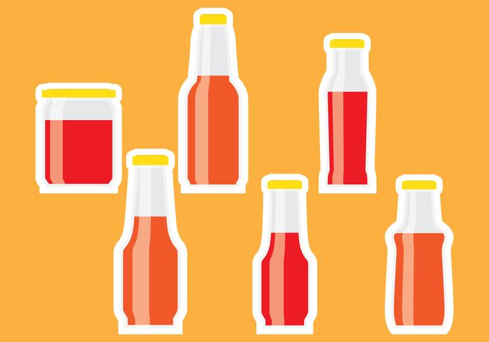 Bottle sauce sticker vector