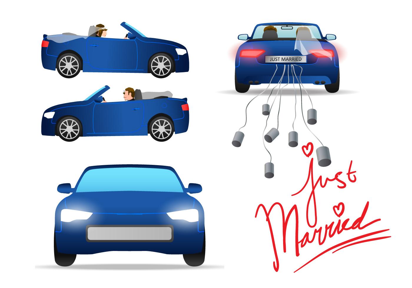 just married car vector  download free vector art stock