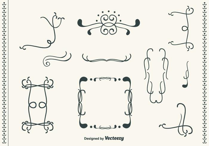 Hand Drawn Curly Swirl Vector Set
