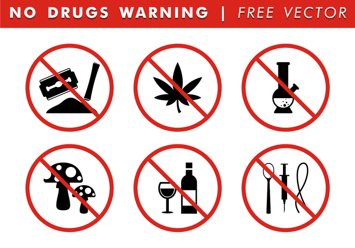 No Drugs Warning Free Vector