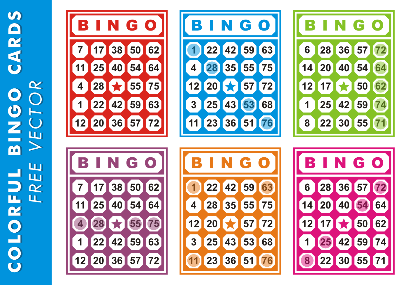 Colorful Bingo Cards Free Vector Download Free Vector