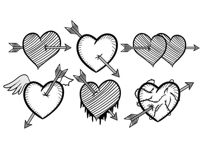 Flecha preto e branco através do vetor do coração