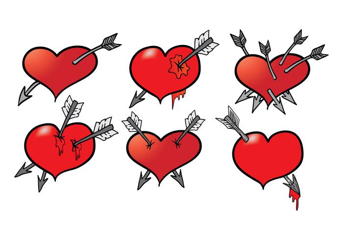 Hand Drawn Arrow Through Heart Vectors