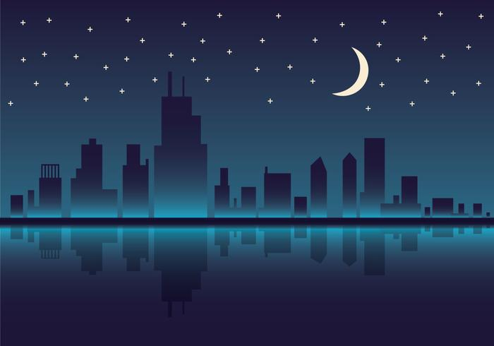 Kostenlose Chicago Skyline Nacht Vektor-Illustration