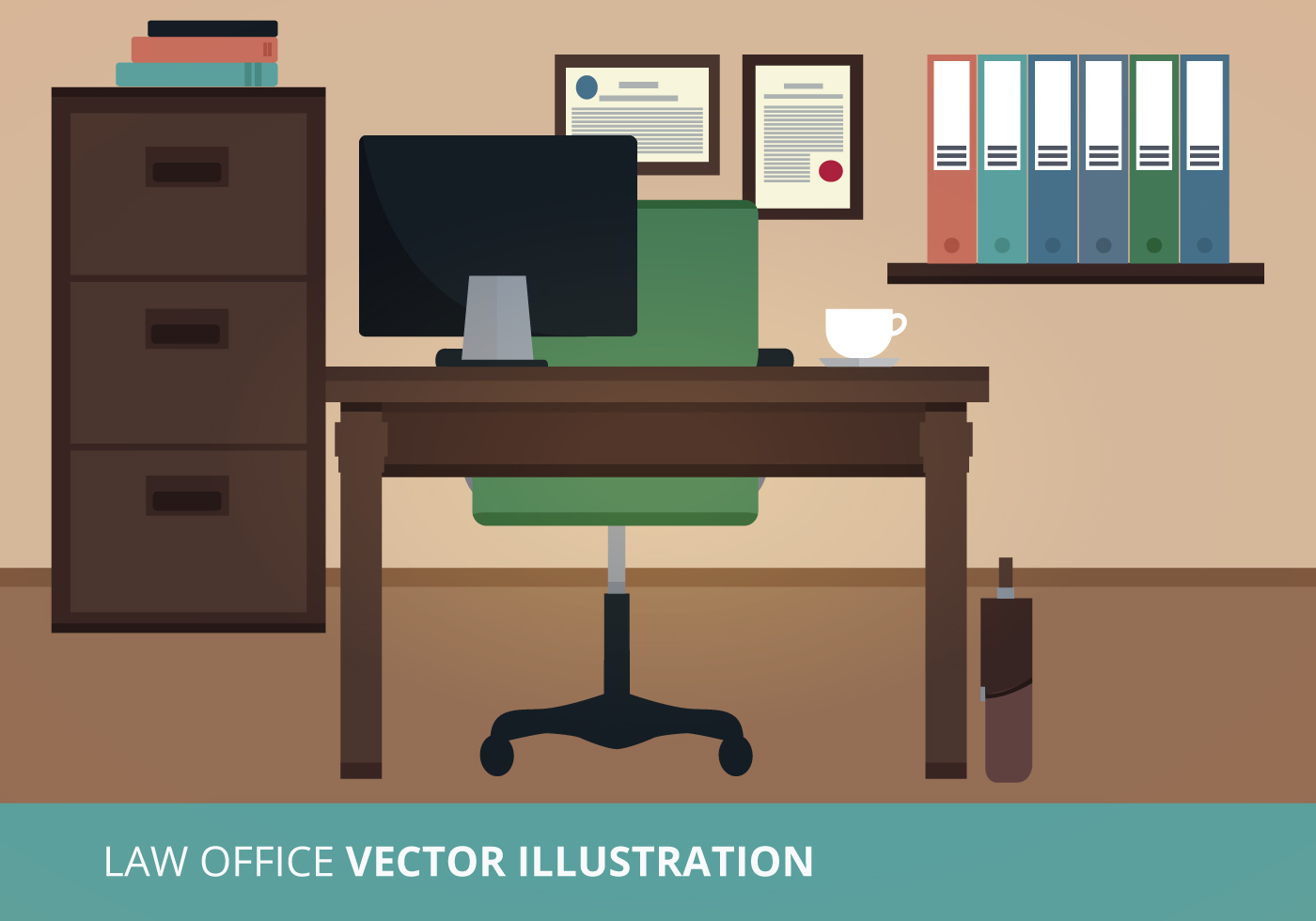 Computer chair back support - Law Office Vector Illustration Download Free Vector Art
