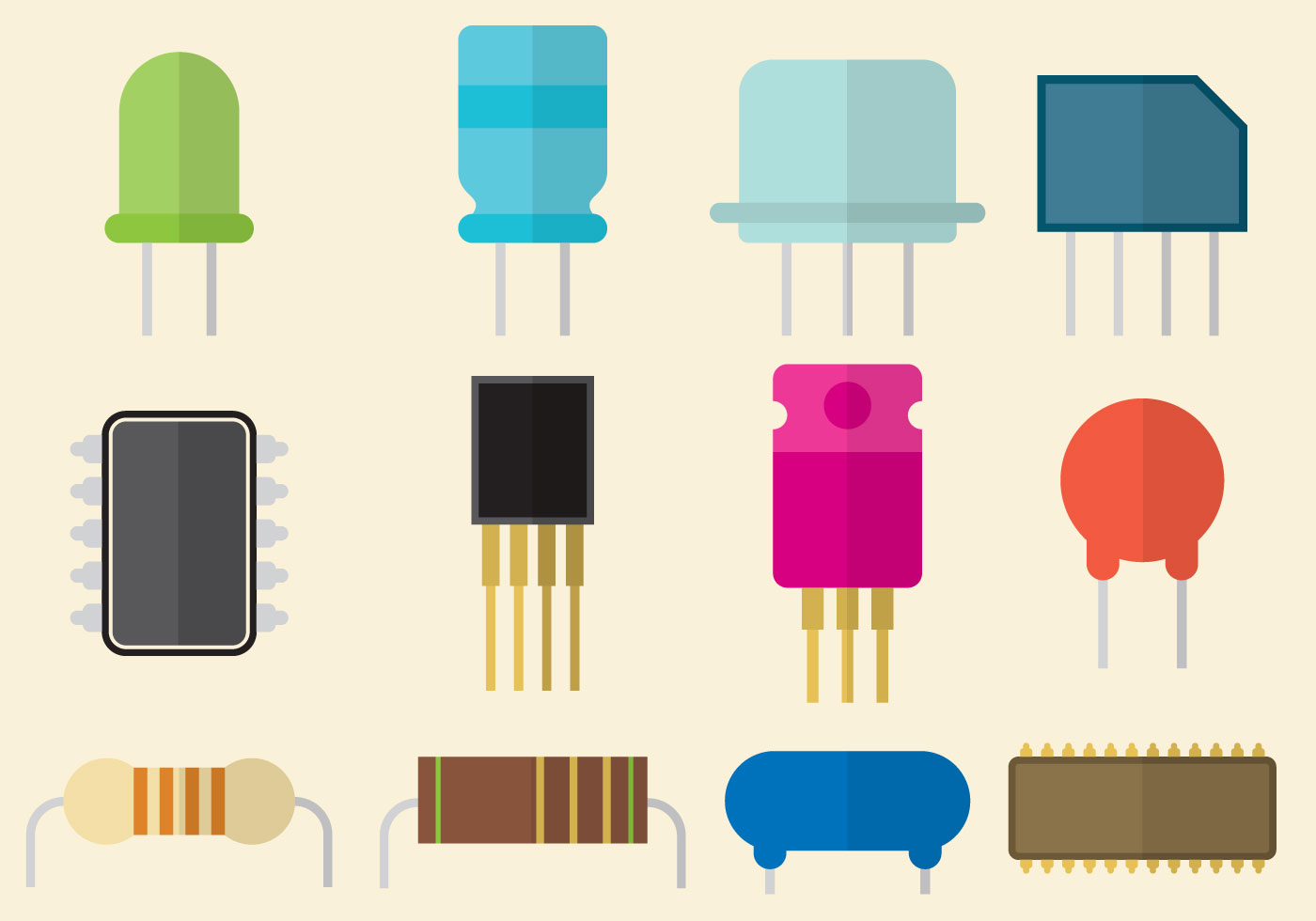 Download Free Vector Art Stock: Flat Transistor Part Vectors