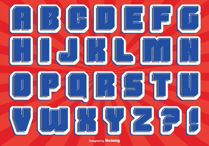 Juego de alfabeto de estilo cómico