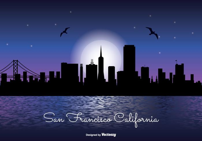 San Francisco natt skyline illustration