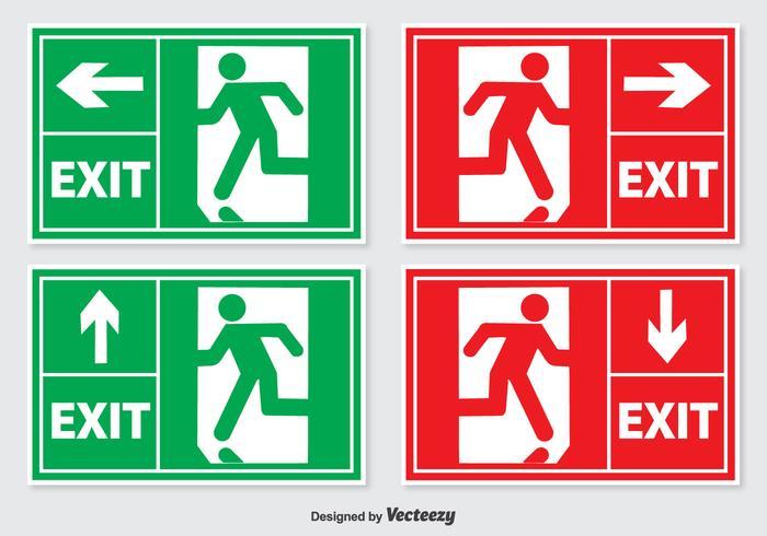 Conjunto de letreros de salida de emergencia vector