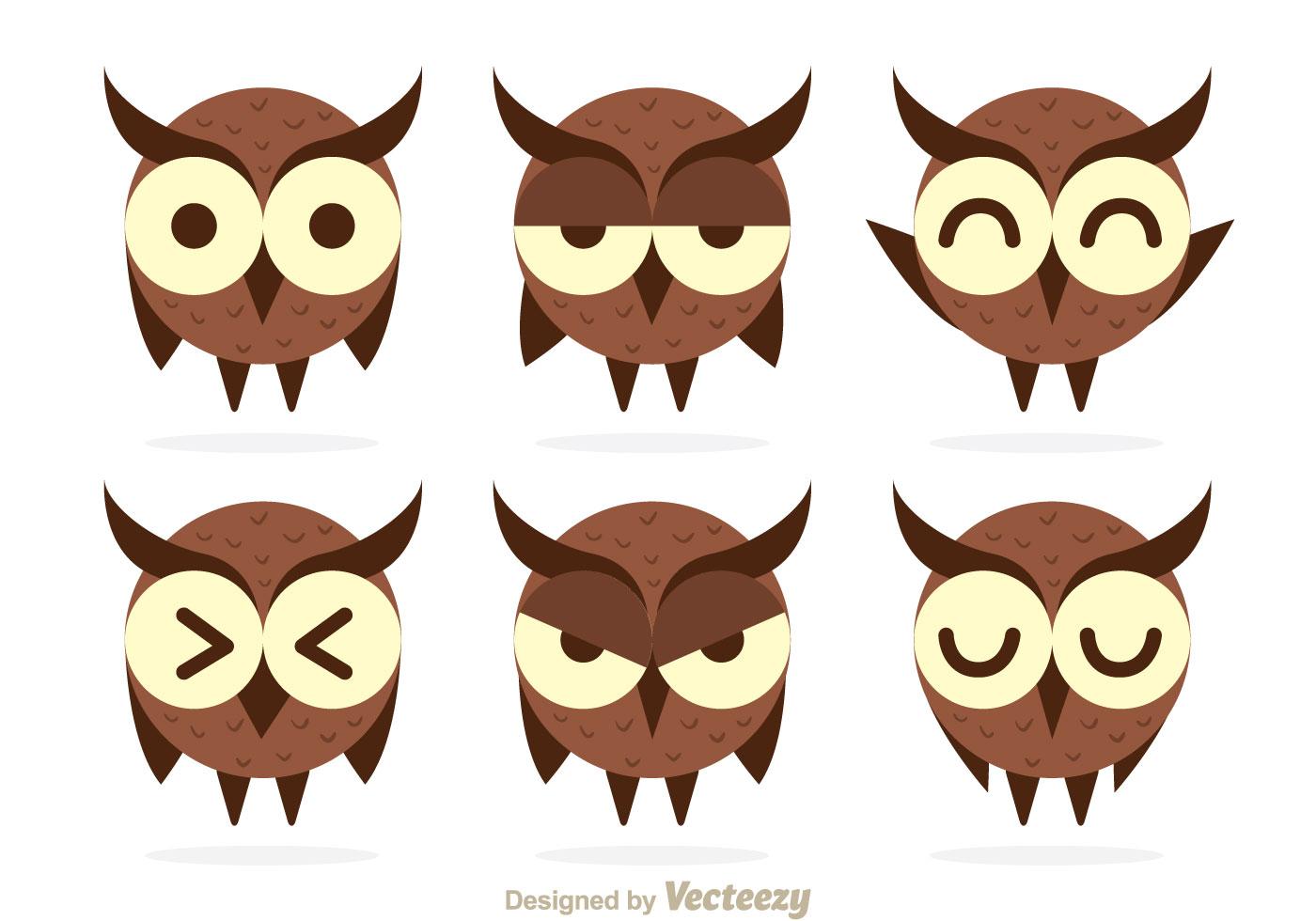 Cute Owl Expression Vectors - Download Free Vectors ...