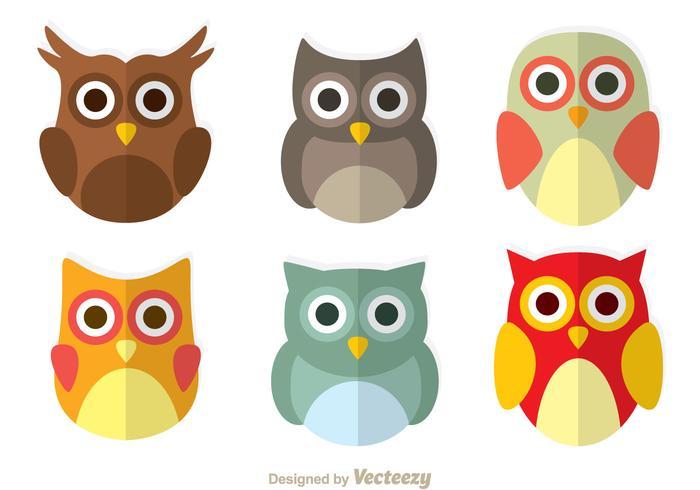 Cute Owl Flat Icons