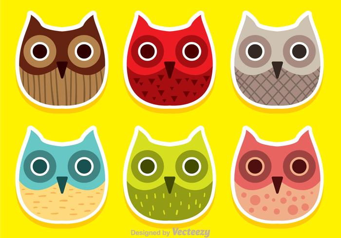 Colorful Owl Face Vectors