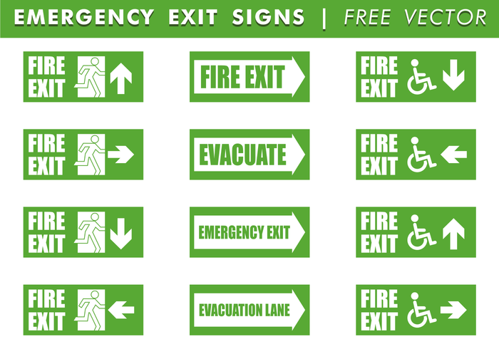 Emergency Exit Signs Free Vector