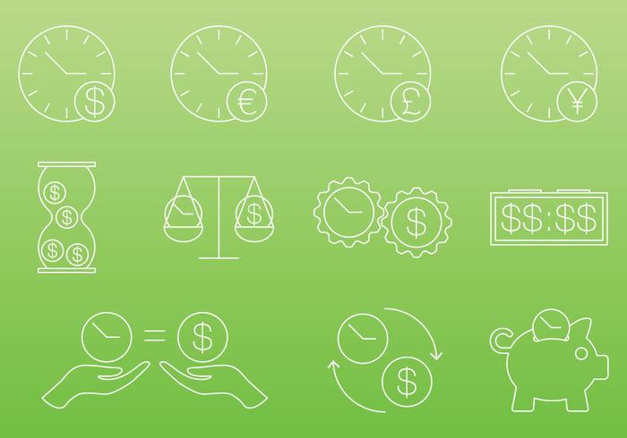 O tempo é ícones de dinheiro