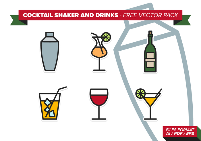 Cocktail Shaker And Drinks Free Vector Pack
