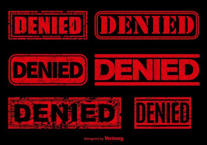 Denied red stamp vectors