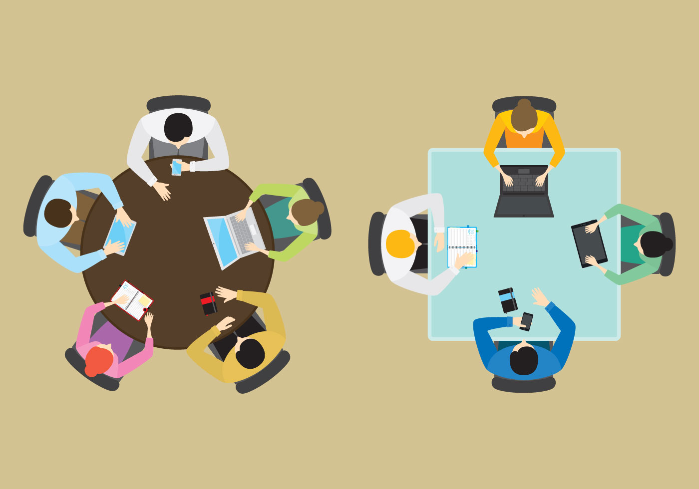 Vector Office Groups From Above Download Free Vector Art
