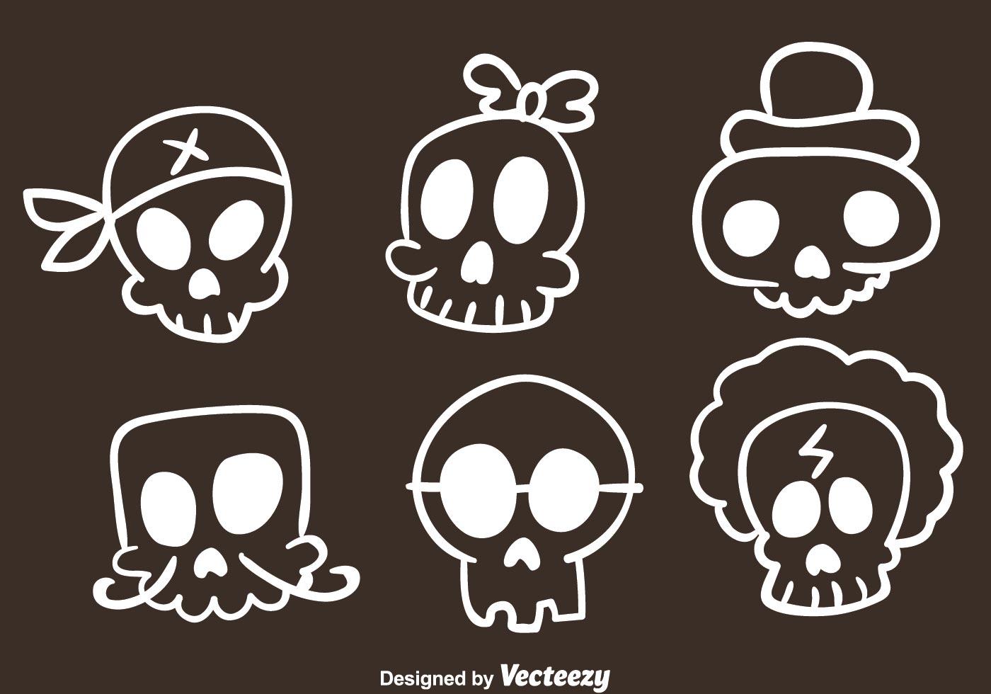Vector Skull Sketch Icons