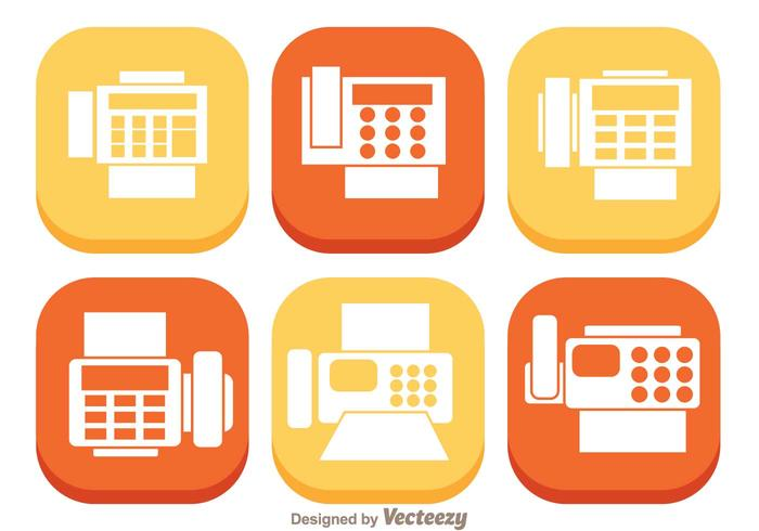 Fax Flat Icons vector