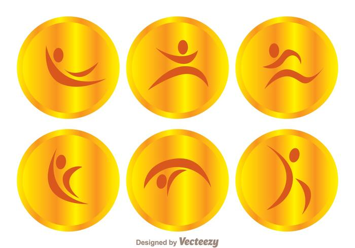 Vector Gold Gymnast Icons