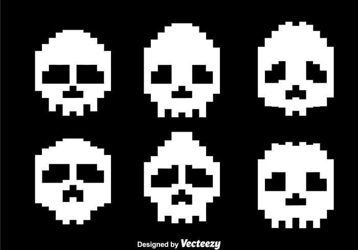 Pixel White Skull Vectors