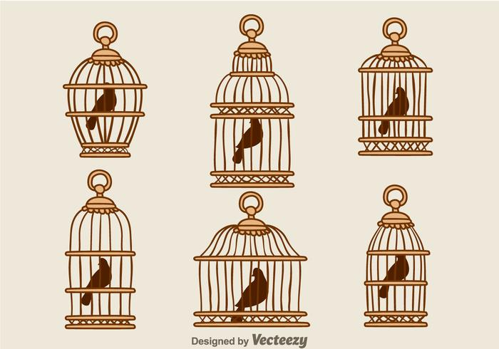 Vintage Bird Wood Cage Vectors