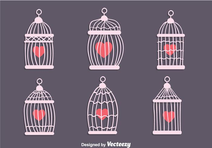 Vintage Bird Cage With Heart Shape Vectors