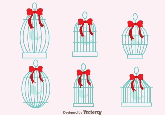 Cage d'oiseaux vintage avec des vecteurs de ruban vecteur