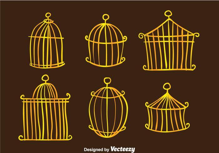 Vetores dourados de gaiolas de pássaros vintage