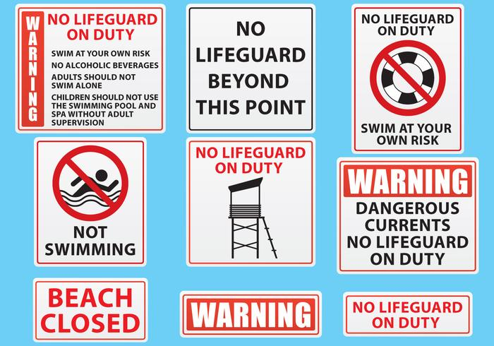 Beach And Pool Sign Vectors
