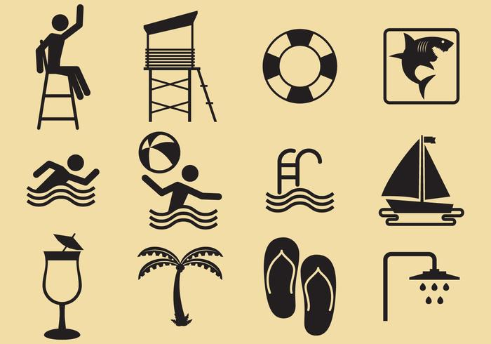 Beach And Pool Vector Icons