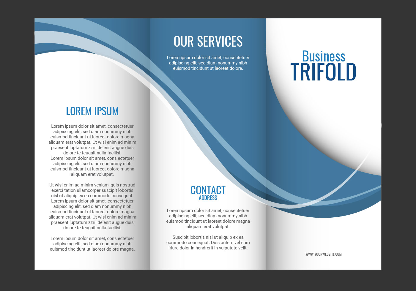 Template design of blue wave trifold brochure download for Templates for brochures