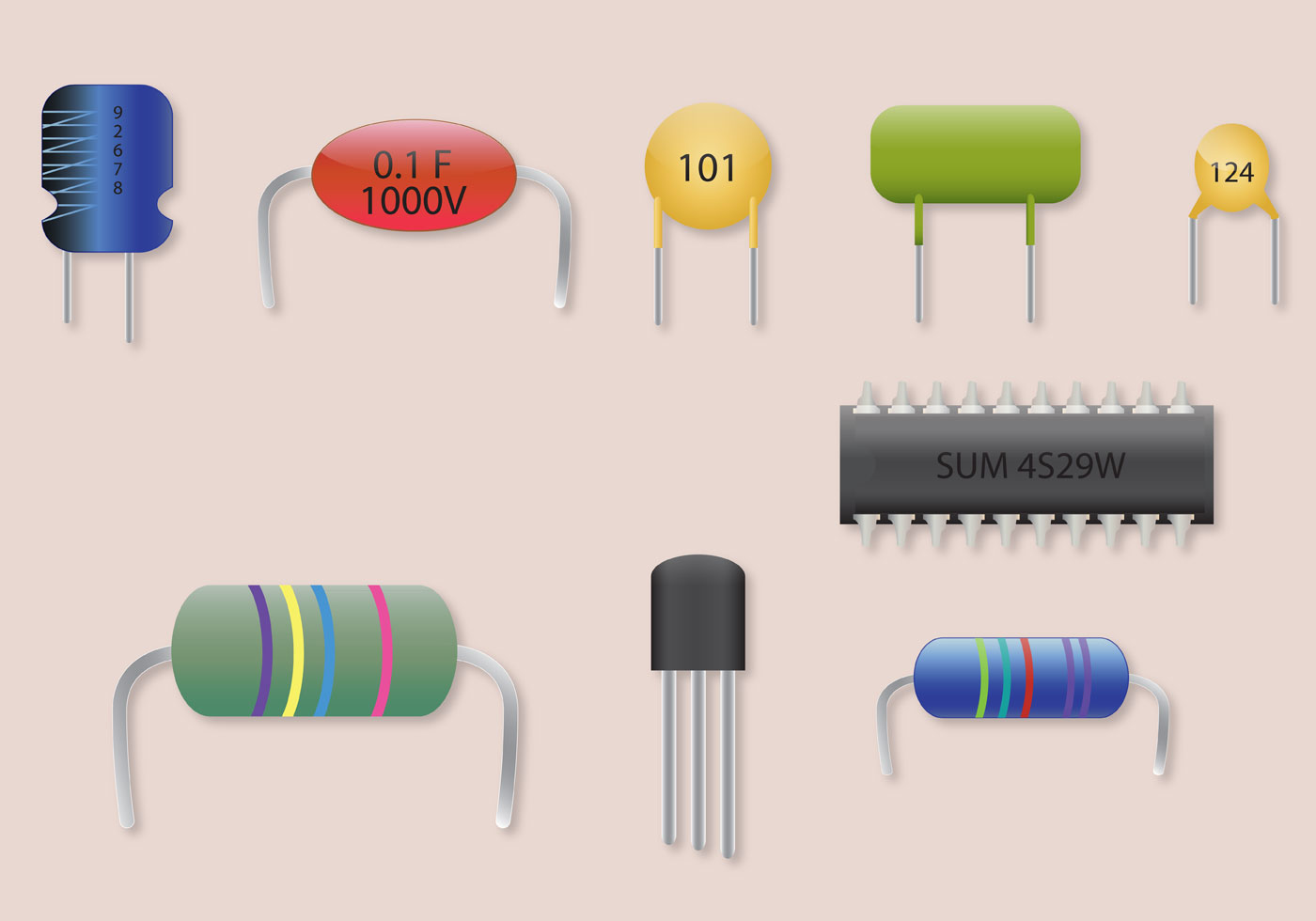 Transistor Vector Parts Set Download Free Art Stock Electronics Circuit Graphics Images