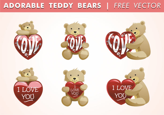 Adorable Teddy Bears Vector