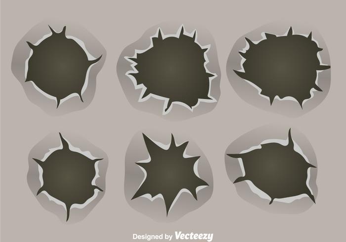 Bullet Holes On Metal Background Vectors